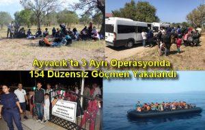 Ayvacık'ta 3 Ayrı Operasyonda 154 Düzensiz Göçmen Yakalandı