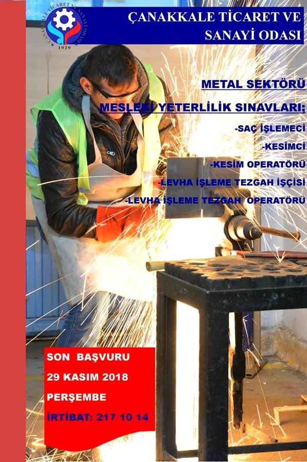Çanakkale'de Metal Sektörü Mesleki Yeterlilik Sınavları Başvuruları Başladı