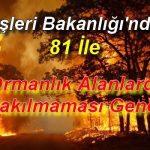 """İçişleri Bakanlığı'ndan 81 ile """"Ormanlık Alanlarda Ateş Yakılmaması Genelgesi"""""""